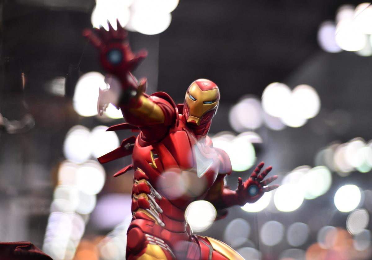 An Iron Man figure is seen during New York Comic Con 2018 at Jacob K. Javits Convention Center on October 5, 2018 in New York City
