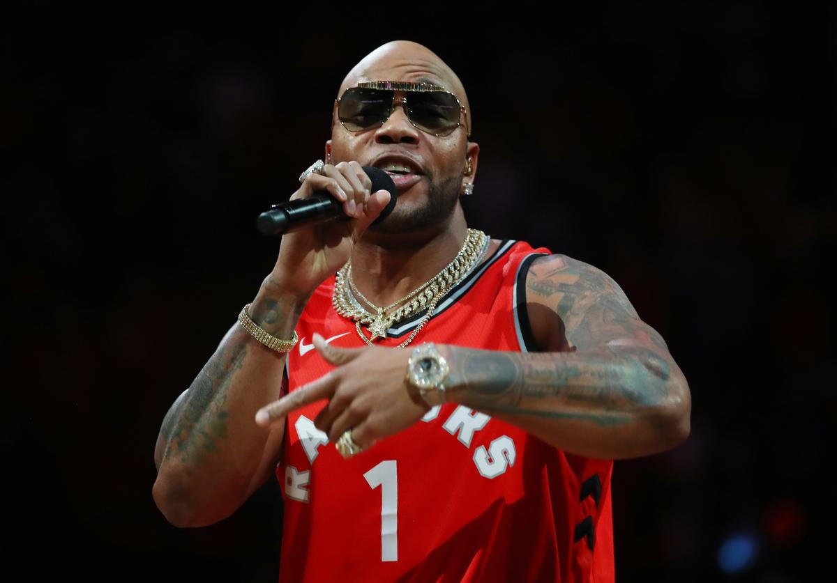 Rapper, Flo Rida performs during halftime of Game Two of the 2019 NBA Finals between the Golden State Warriors and the Toronto Raptor