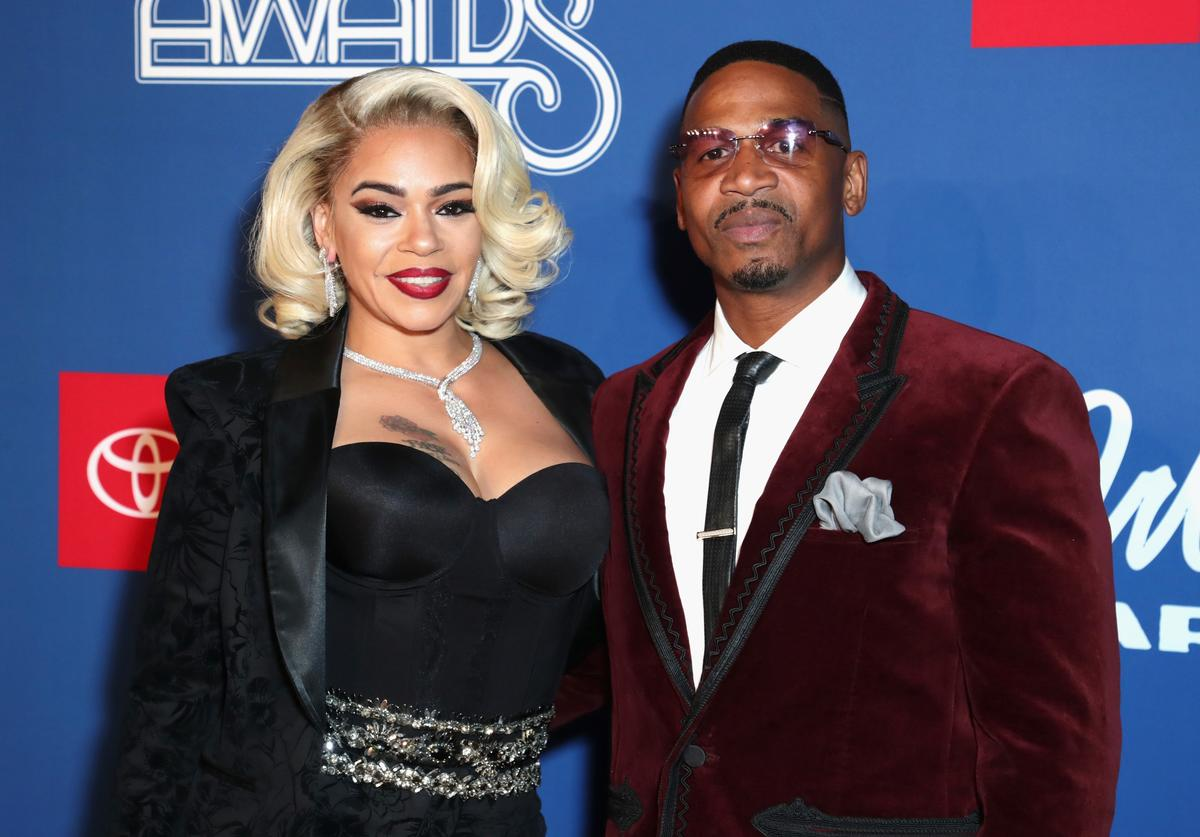 Faith Evans (L) and her husband Stevie J attend the 2018 Soul Train Awards, presented by BET, at the Orleans Arena on November 17, 2018 in Las Vegas, Nevada.