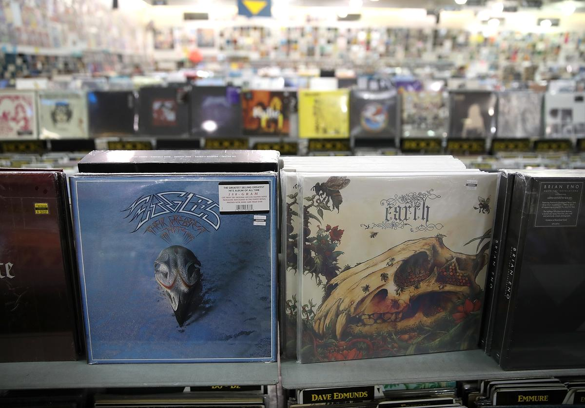 "The Eagles album ""Their Greatest Hits 1971-1975"" is displayed at Amoeba Music on August 20, 2018 in San Francisco, California. The Eagles album Their Greatest Hits 1971-1975 has surpassed Michael Jackson's Thriller album as the best-selling album of all time. The Recording Industry Association of America (RIAA) recalculated sales of the Eagles hits collection and certified the LP as 38x platinum compared to Thriller's 33x platinum"