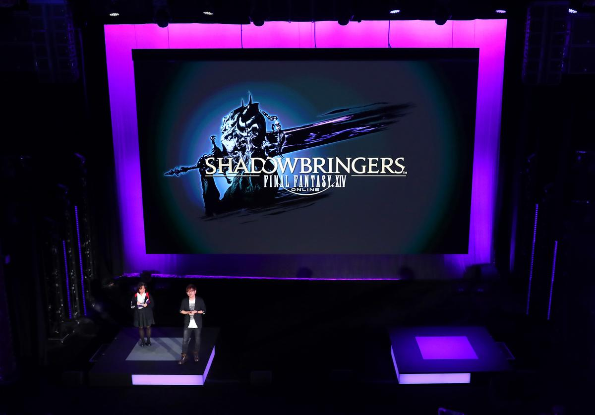 Square Enix's Naoki Yoshida, Producer and Director of FINAL FANTASY XIV Online, premieres the launch trailer of the title's upcoming expansion pack, Shadowbringers, during Square Enix Live E3 2019 in Los Angeles on Monday, June 10, 2019