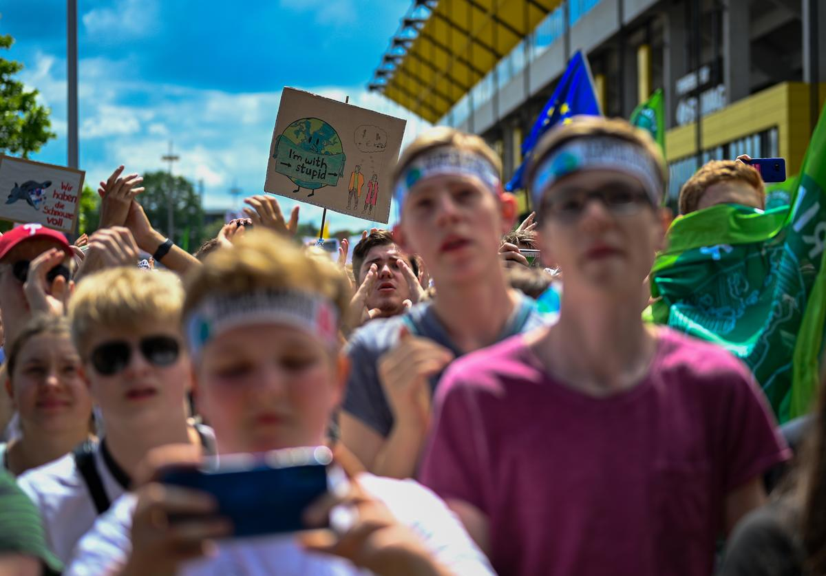 Teenage demonstrators participate in an international Fridays for Future march on June 21, 2019