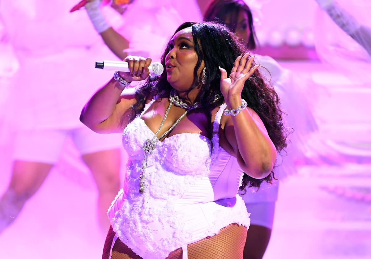 Lizzo performs onstage at the 2019 BET Awards on June 23, 2019