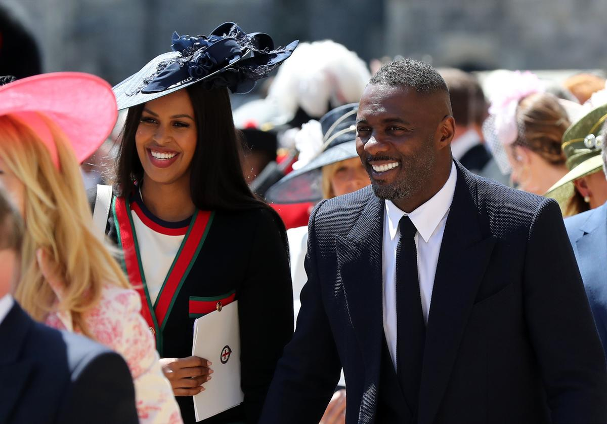 Sabrina Dhowre and Idris Elba leaves St George's Chapel at Windsor Castle