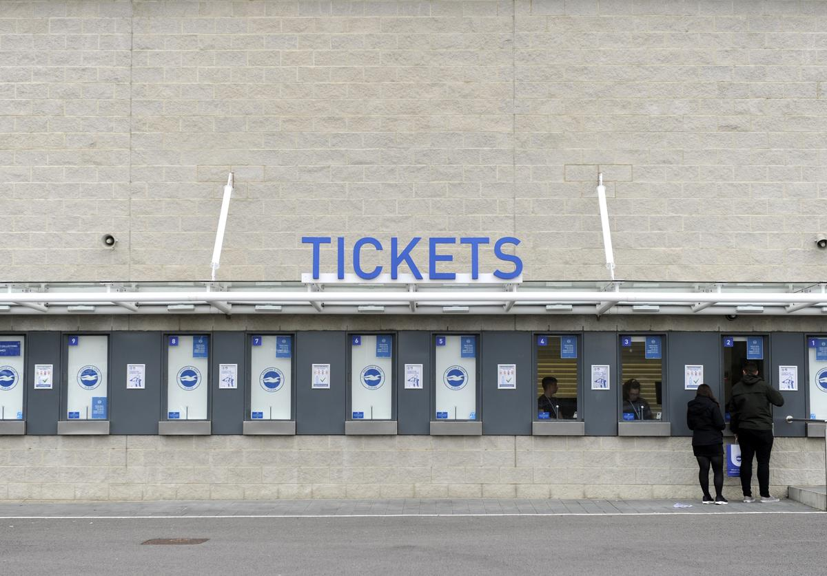 General view of ticket booths outside the stadium prior to the Premier League 2 match