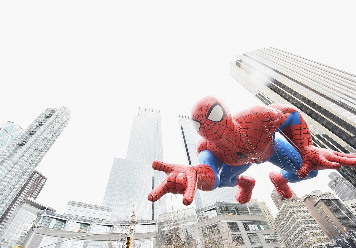The Spiderman balloon passes by during the 88th annual Macy's Thanksgiving Day Parade on November 27, 2014
