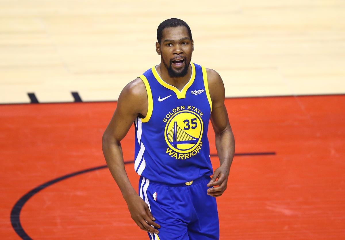 evin Durant #35 of the Golden State Warriors reacts against the Toronto Raptors in the first half during Game Five of the 2019 NBA Finals at Scotiabank Arena on June 10, 2019 in Toronto, Canada. NOTE TO USER: User expressly acknowledges and agrees that, by downloading and or using this photograph, User is consenting to the terms and conditions of the Getty Images License Agreement.