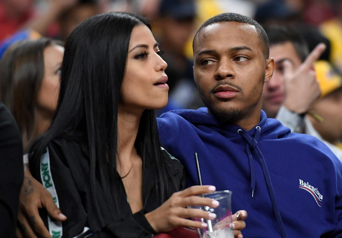 "Shad ""Bow Wow"" Moss (R) attends a preseason game between the Golden State Warriors and the Los Angeles Lakers at T-Mobile Arena on October 10, 2018 in Las Vegas, Nevada"