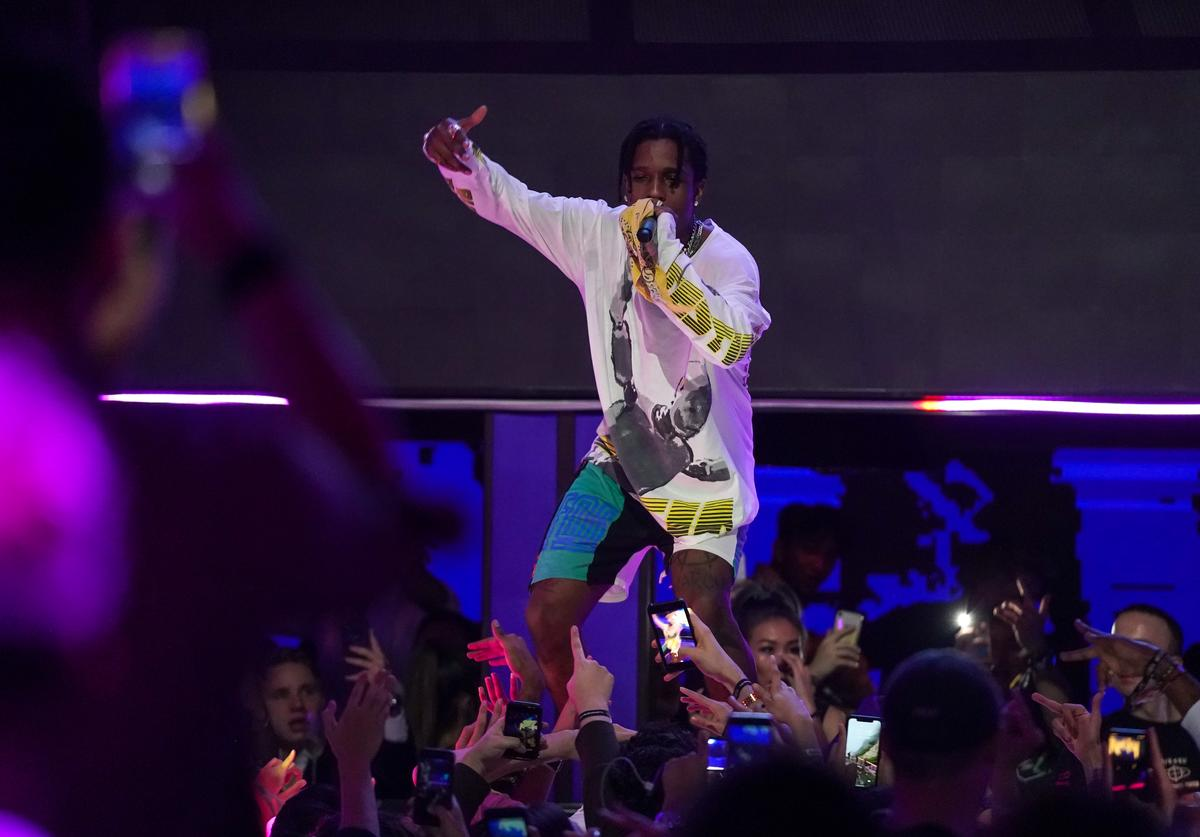 A$AP Rocky performs at the MARQUEE Singapore grand opening celebration on April 13, 2019 in Singapore