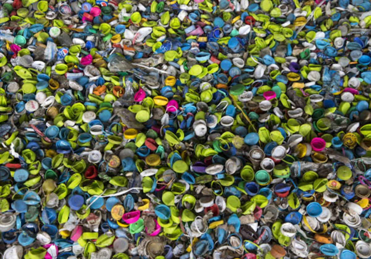 Bottle caps are collected to be sent to another recycle factory for processing