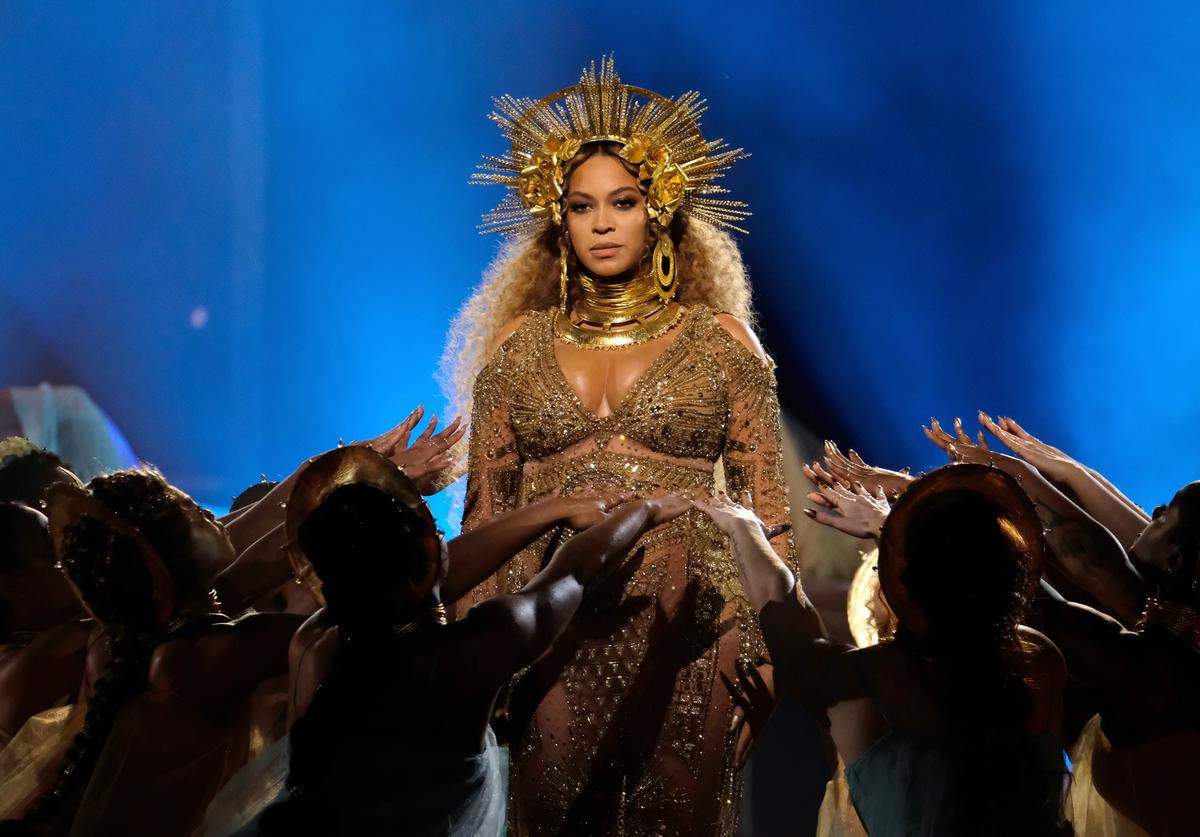 Singer Beyonce performs during The 59th GRAMMY Awards