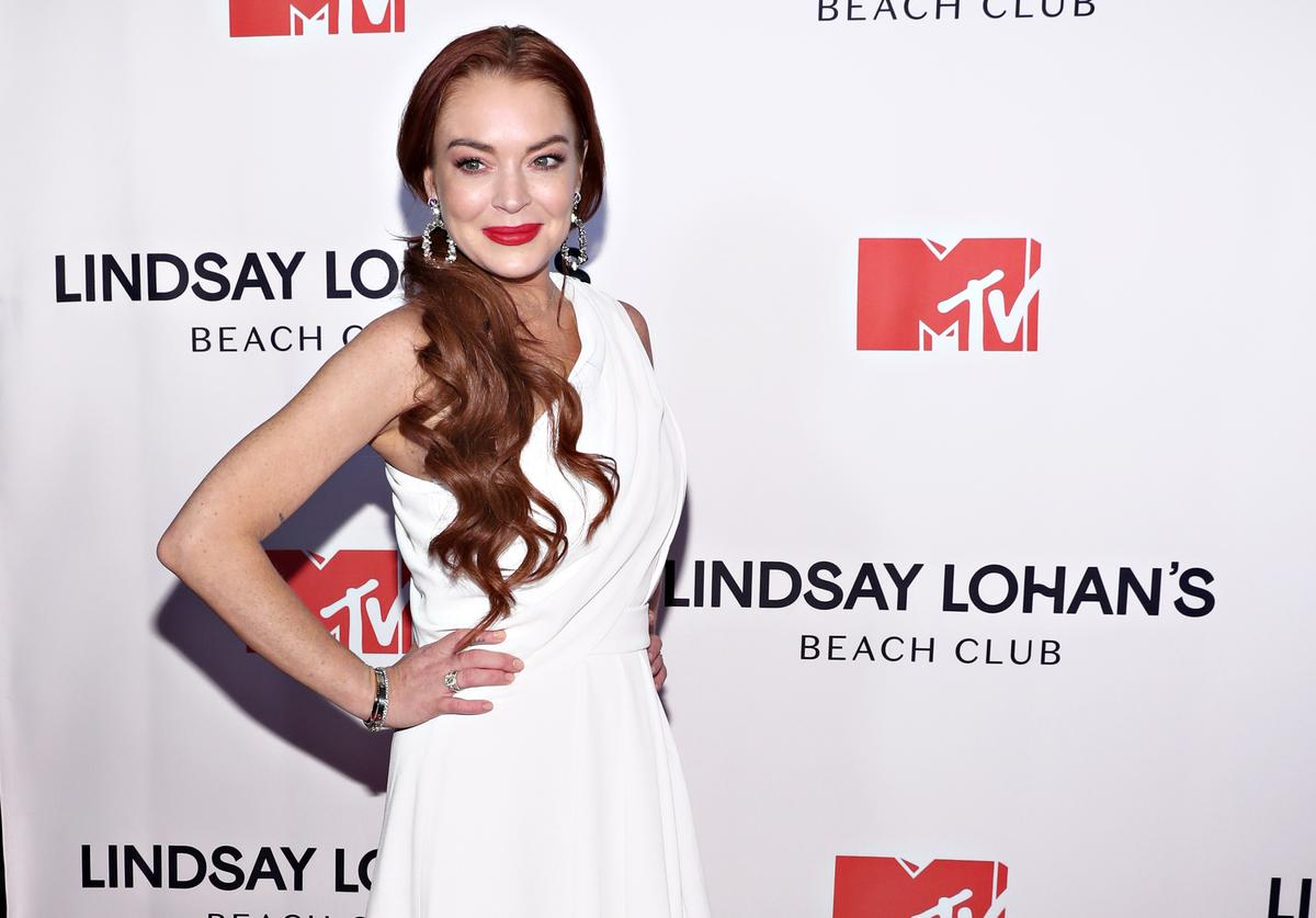 """Lindsay Lohan attends MTV's """"Lindsay Lohan's Beach Club"""" Premiere Party at Moxy Times Square on January 7, 2019 in New York City."""