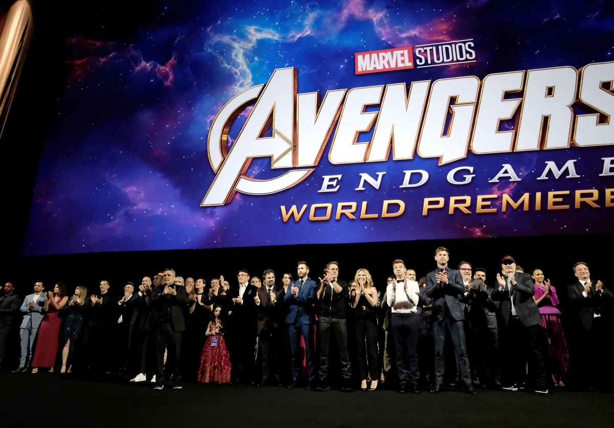 """Director Joe Russo, Anthony Russo, Mark Ruffalo, Chris Evans, Robert Downey Jr., Scarlett Johansson, Jeremy Renner, Chris Hemsworth, Executive producer Jon Favreau, and President of Marvel Studios/Producer Kevin Feige speak onstage during the Los Angeles World Premiere of Marvel Studios' """"Avengers: Endgame"""" at the Los Angeles Convention Center on April 23, 2019 in Los Angeles, California"""