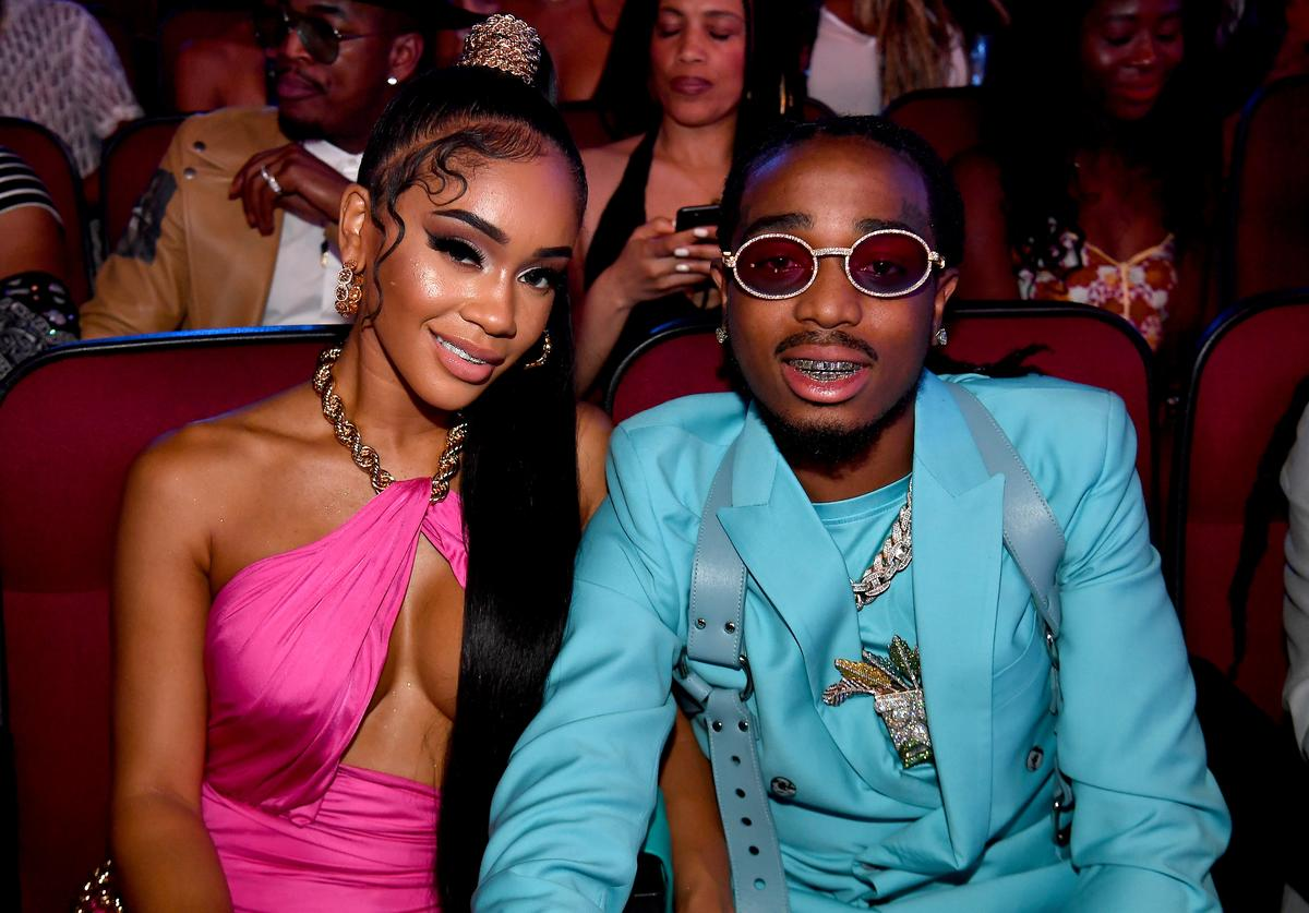 (L-R) Saweetie and Quavo seen in the audience at the 2019 BET Awards