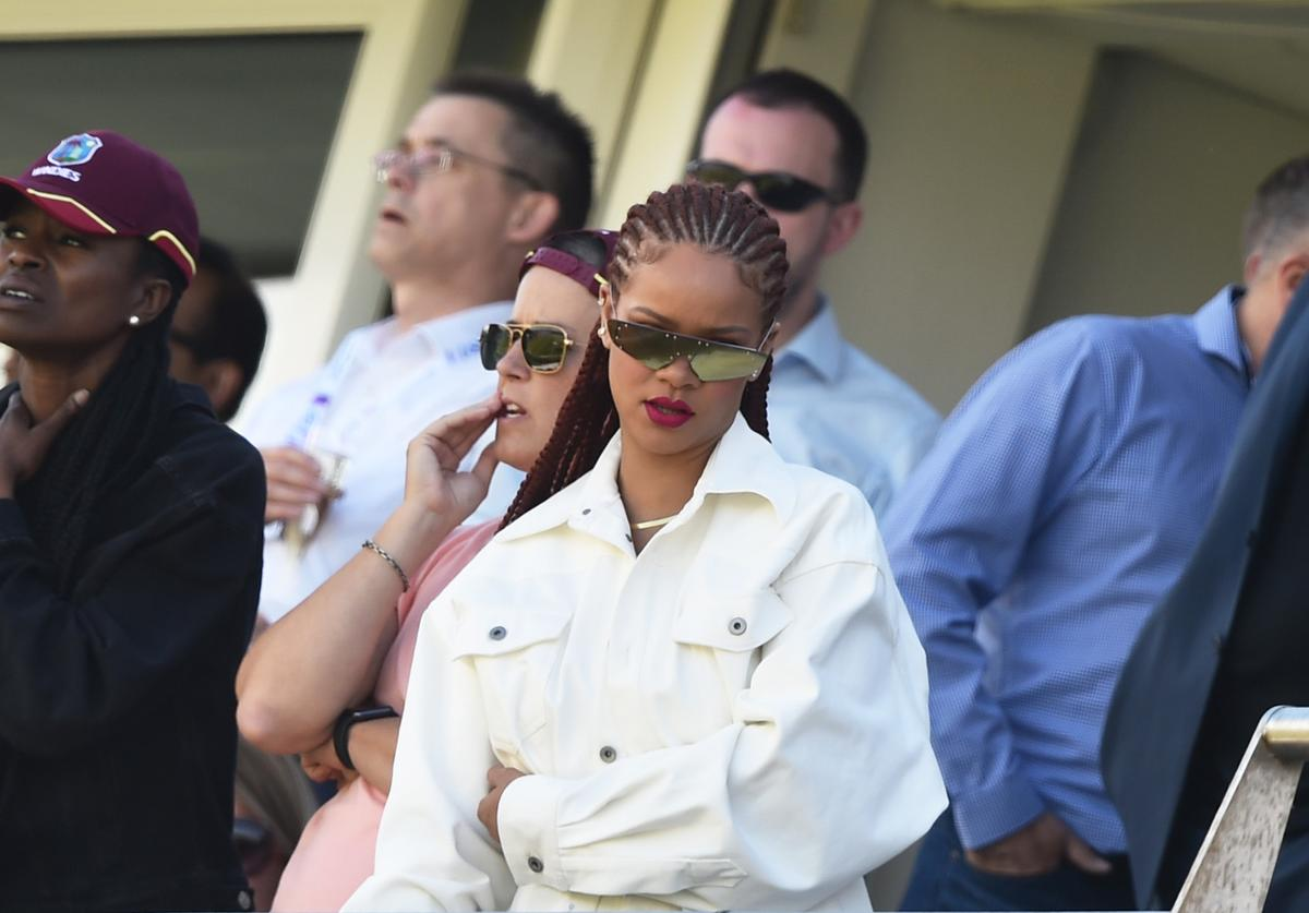Singer Rihanna watches during the Group Stage match of the ICC Cricket World Cup 2019