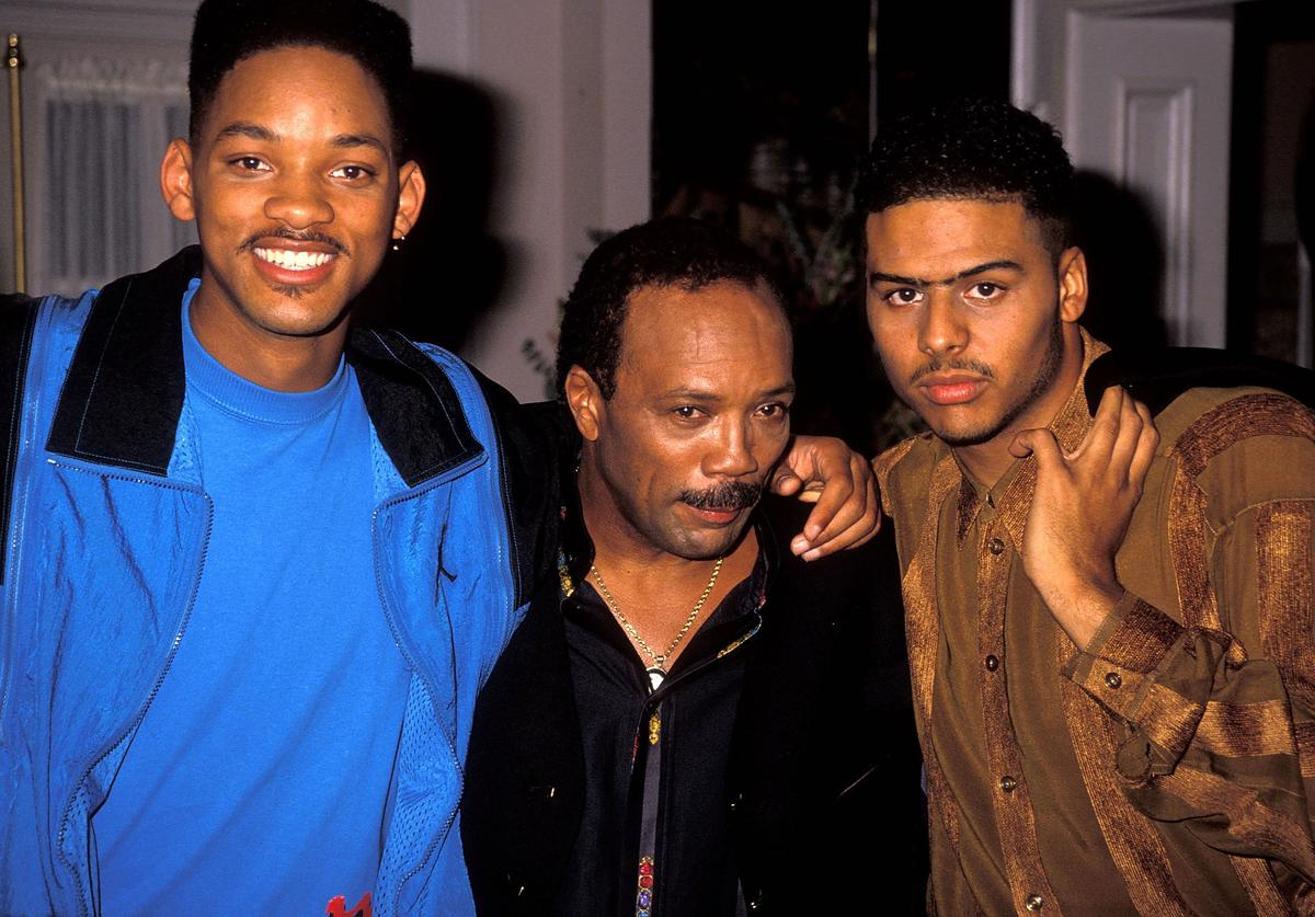 "Actor Will Smith, music/television producer Quincy Jones and singer Al B. Sure! break from filming ""The Fresh Prince of Bel-Air"""