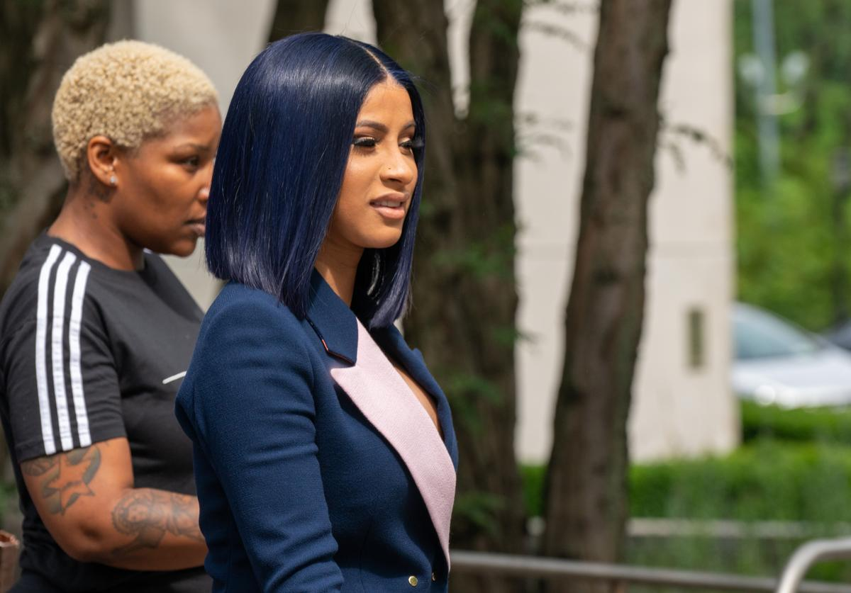 Cardi B departs from court after being arraigned on misdemeanor assault charges at the Queens Criminal Court