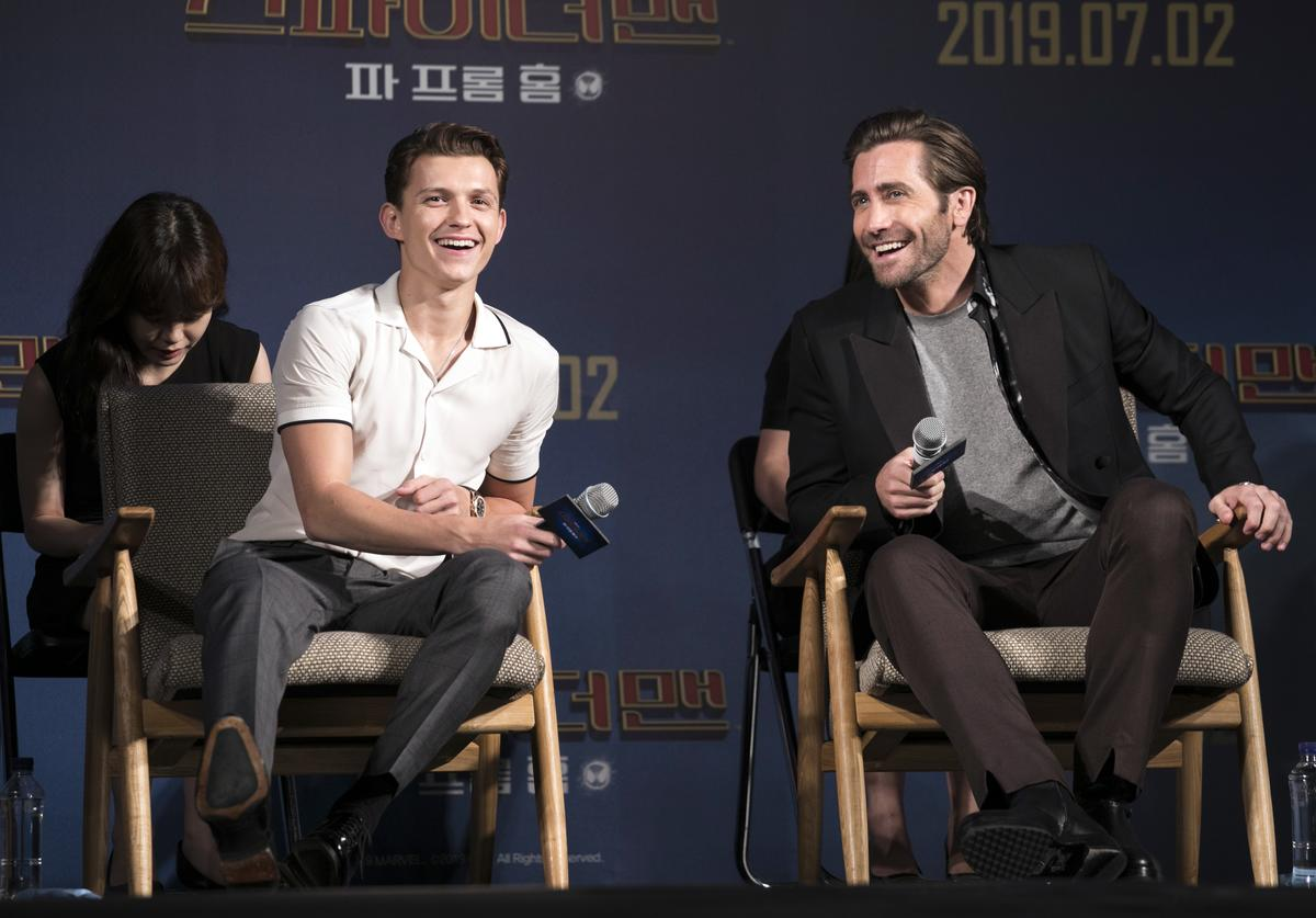 Tom Holland(L) and Jake Gyllenhaal attend 'Fan Fest'; the fan-meeting event of 'Spider-Man: Far From Home'