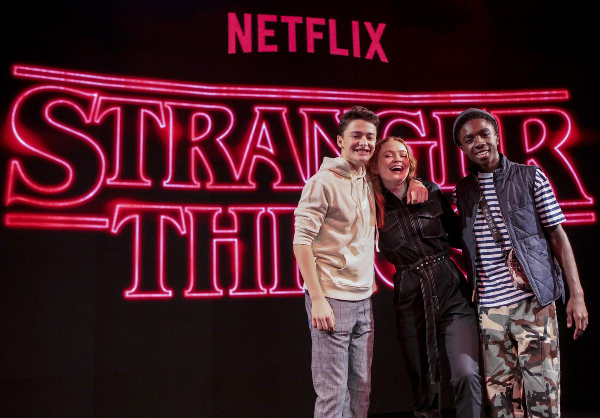 Noah Schnapp, Caleb McLaughlin and actress Sadie Sink pose after the Stranger Things panel during day 2 of Argentina Comic Con 2018 at Costa Salguero on December 08, 2018 in Buenos Aires, Argentina