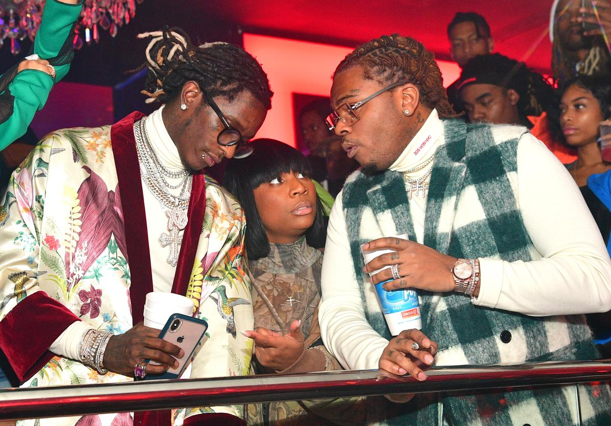 "Young Thug, Ebonie Ward and Gunna attend Gunna ""Drip or Drown 2"" album release party at Compound on February 24, 2019 in Atlanta, Georgia"