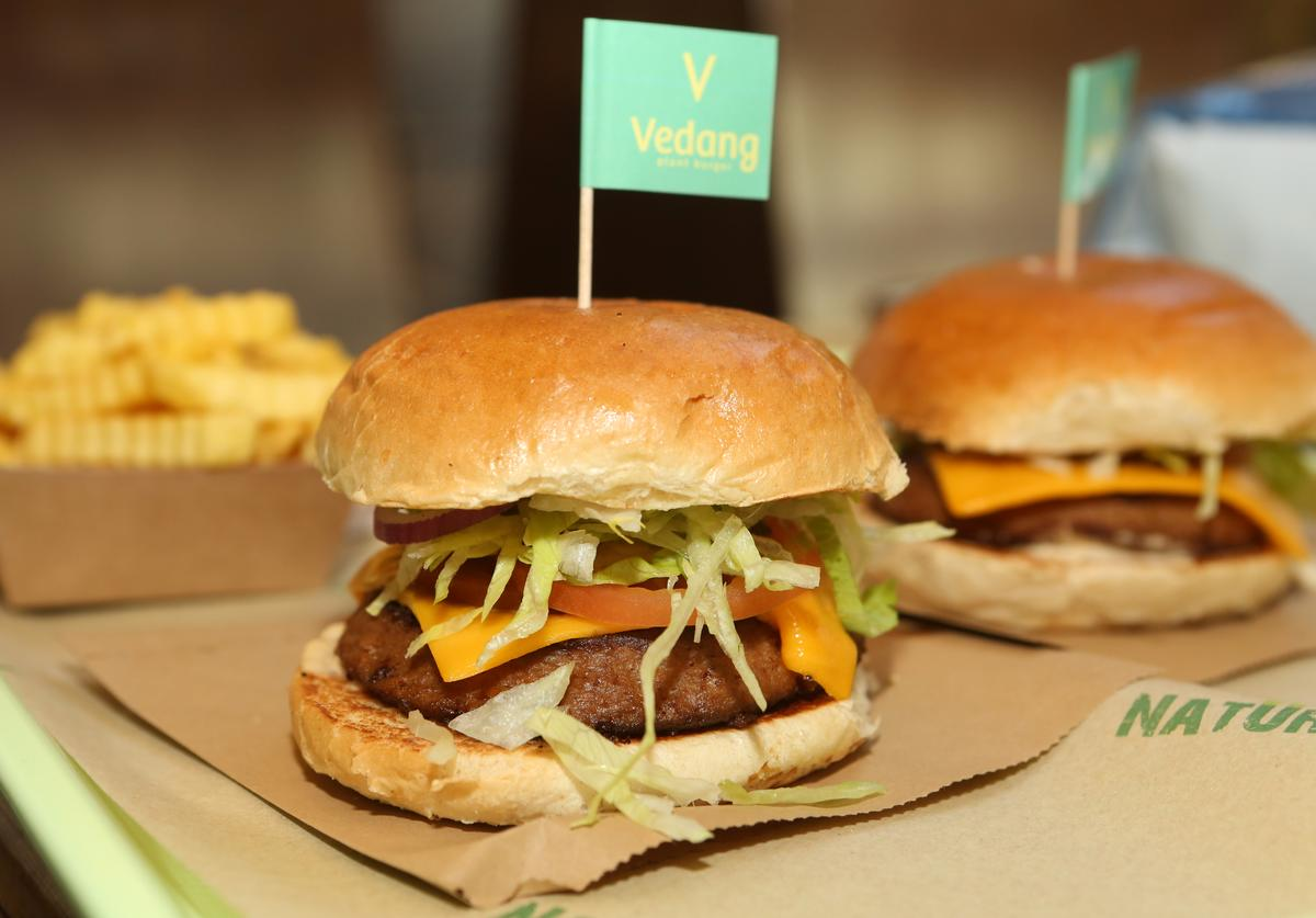 Beyond Burgers, vegan veggie burgers, are seen at the Vedang fast food restaurant in the Mall of Berlin on May 18, 2019 in Berlin, Germany. With fast food chains such as McDonald's, Burger King, Chick-Fil-A, Taco Bell and Dunkin' Donuts now offering 'fake meat' versions of their main meal options, the vegan burger industry is booming, as consumers look beyond real meat products out of health and environmental concerns. Beyond Burgers, made from pea protein, and Impossible Burgers, made from wheat protein, coconut oil, potato protein, and heme, the protein that makes the burgers convincingly taste like meat, are now being distributed globally as interest in such products grows.