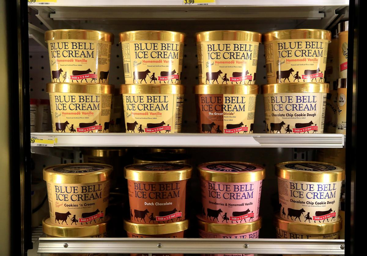 Blue Bell Ice Cream is seen on shelves of an Overland Park grocery store prior to being removed on April 21, 2015 in Overland Park, Kansas.