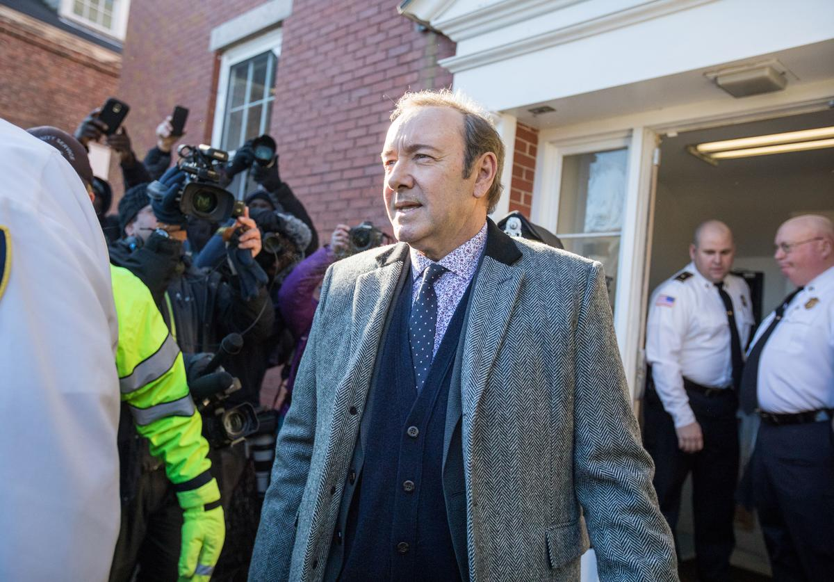 Actor Kevin Spacey leaves Nantucket District Court after being arraigned on sexual assault charges