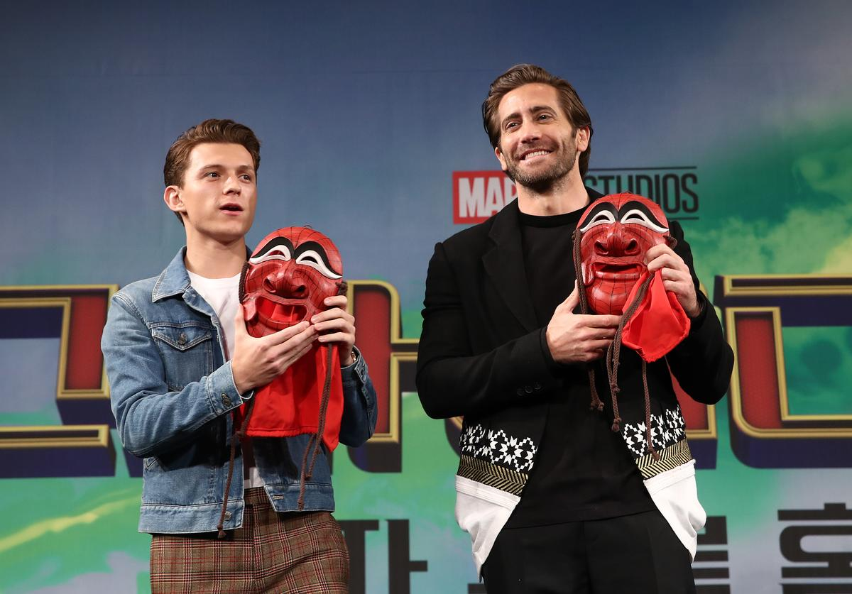 Actors Tom Holland and Jake Gyllenhaal attend the press conference for 'Spider-Man: Far From Home