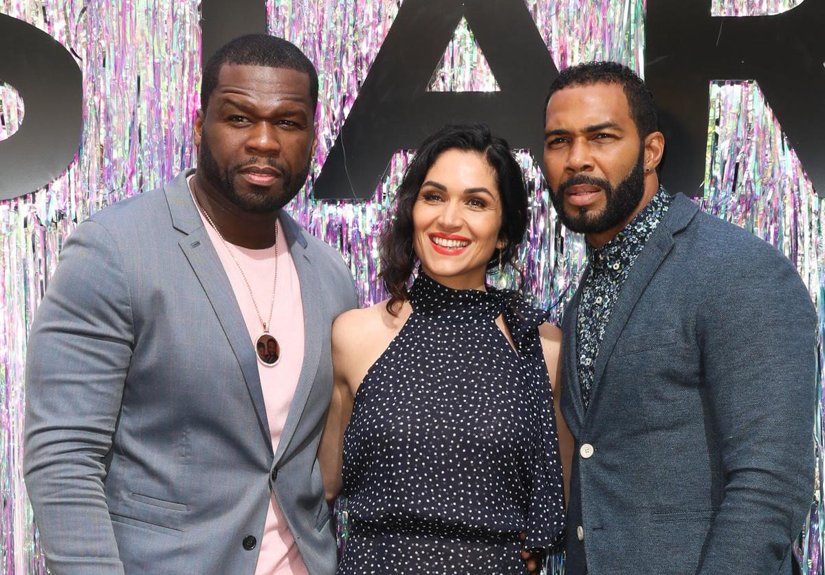 50 Cent, Lela Loren and Omari Hardwick attend the Starz FYC Day at The Atrium at Westfield Century