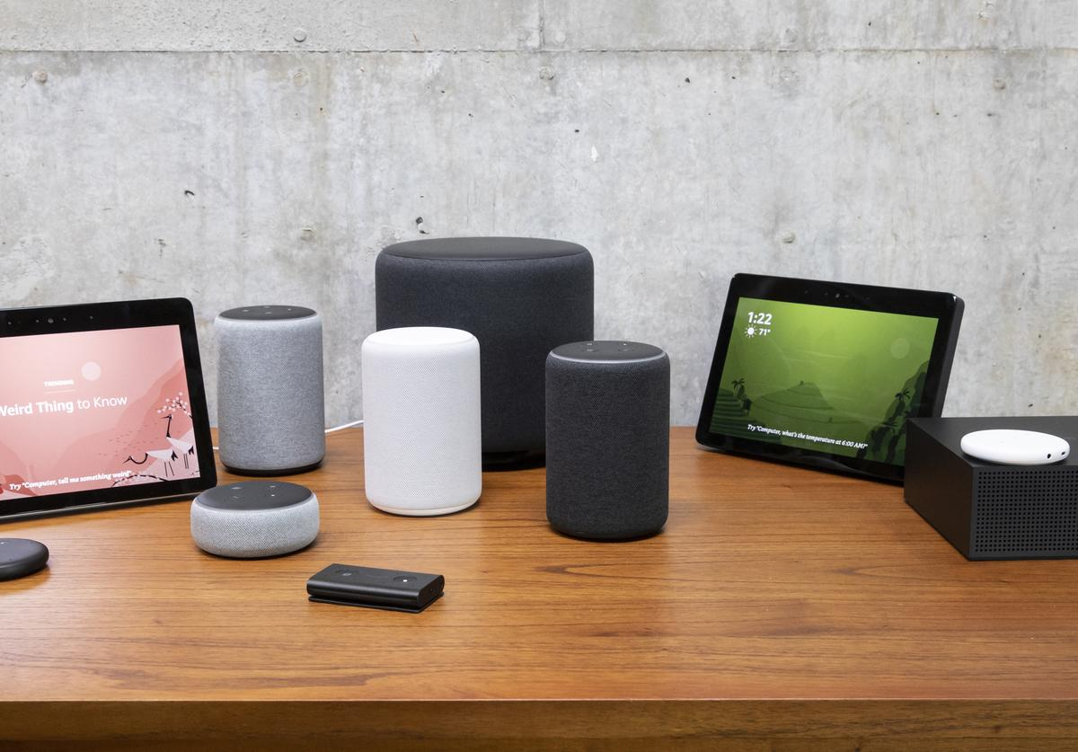 "An assortment of newly launched devices, including, an ""Echo Input,"" ""Echo Show, ""Echo Plus,"" ""Echo Sub,"" ""Echo Auto"" and ""Firetv Recast"" are pictured at Amazon Headquarters"