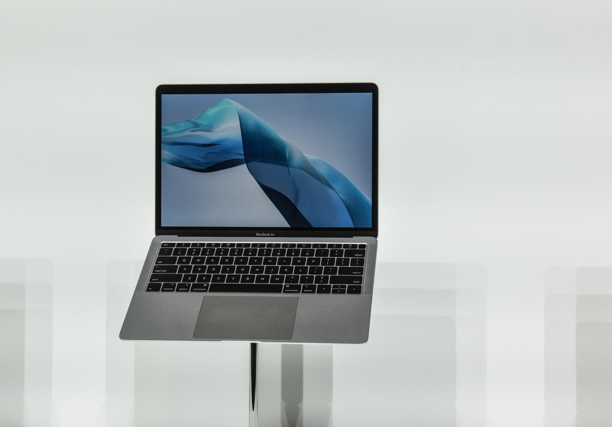 Apple unveils a new MacBook Air during an Apple launch event at the Brooklyn Academy of Music