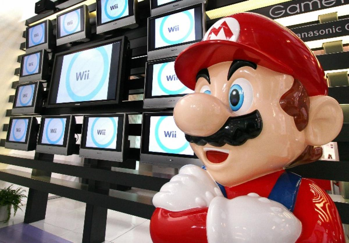 apanese video game giant Nintendo's game character Super Mario stands at a showroom in Tokyo 25 January 2007.