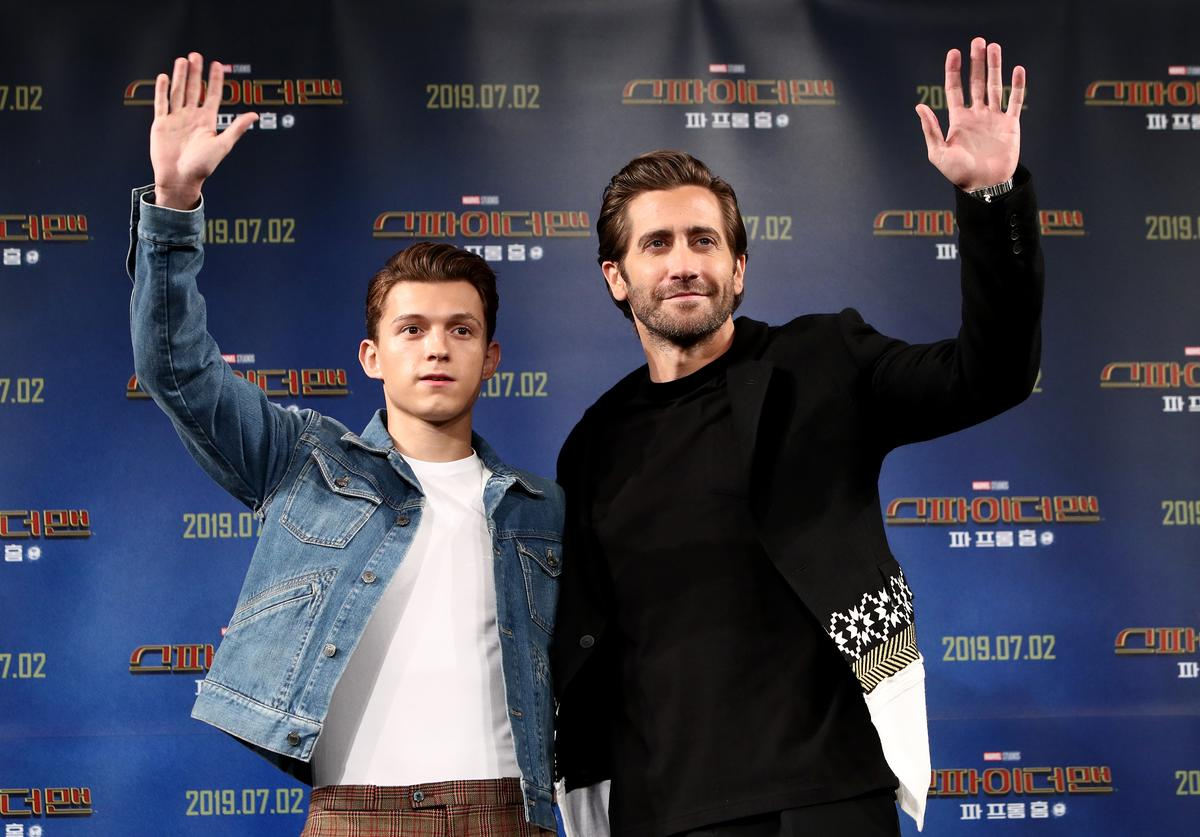 Actors Tom Holland and Jake Gyllenhaal attend the press conference for 'Spider-Man: Far From Home'