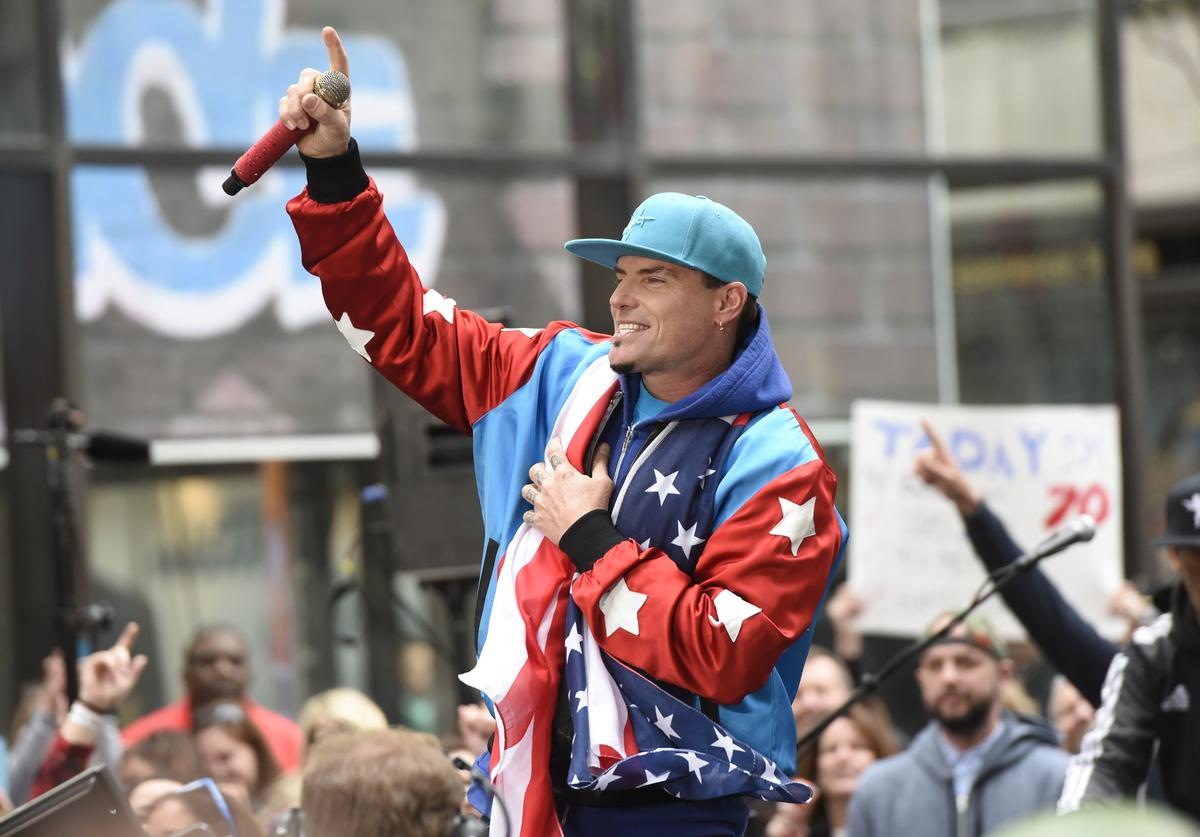 "Vanilla Ice performs live on stage for NBC's ""Today"" at Rockefeller Plaza on April 29, 2016"