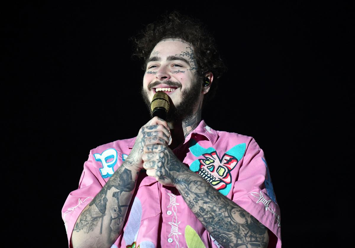DECEMBER 14: Singer Post Malone performs onstage during day one of the Rolling Loud Festival at Banc of California Stadium on December 14, 2018 in Los Angeles, California.