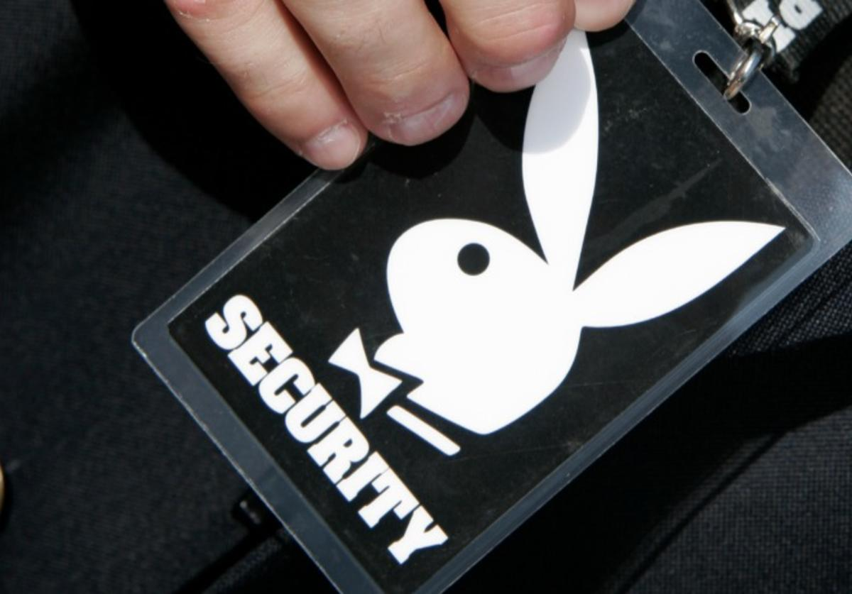 A security badge with the bunny logo at the Playboy's Super Bowl Bikini Bash