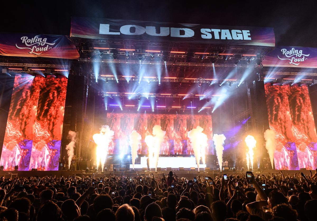General view of the Loud Stage during Rolling Loud at Hard Rock Stadium on May 12, 2019 in Miami Gardens, FL