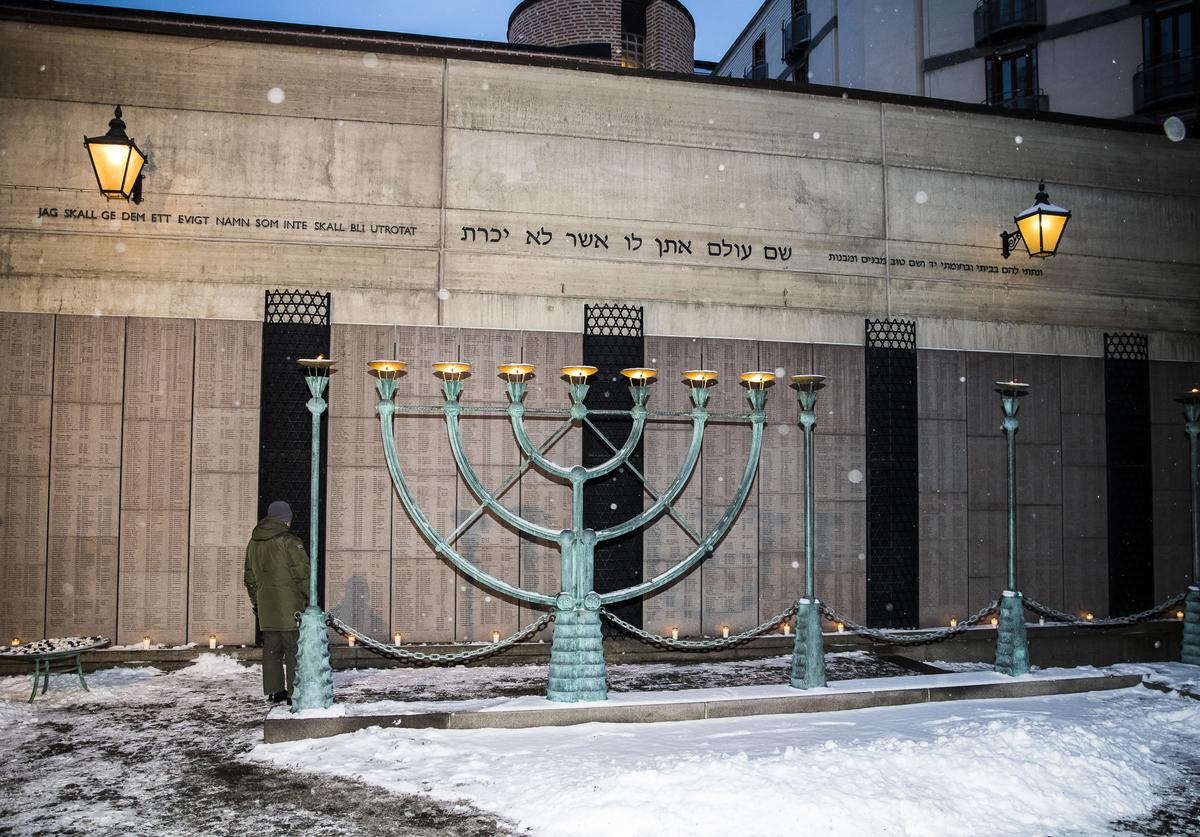 General view of a memorial for victims of the Holocaust outside of Stockholm's Great Synagogue on January 27, 2019 in Stockholm, Sweden.