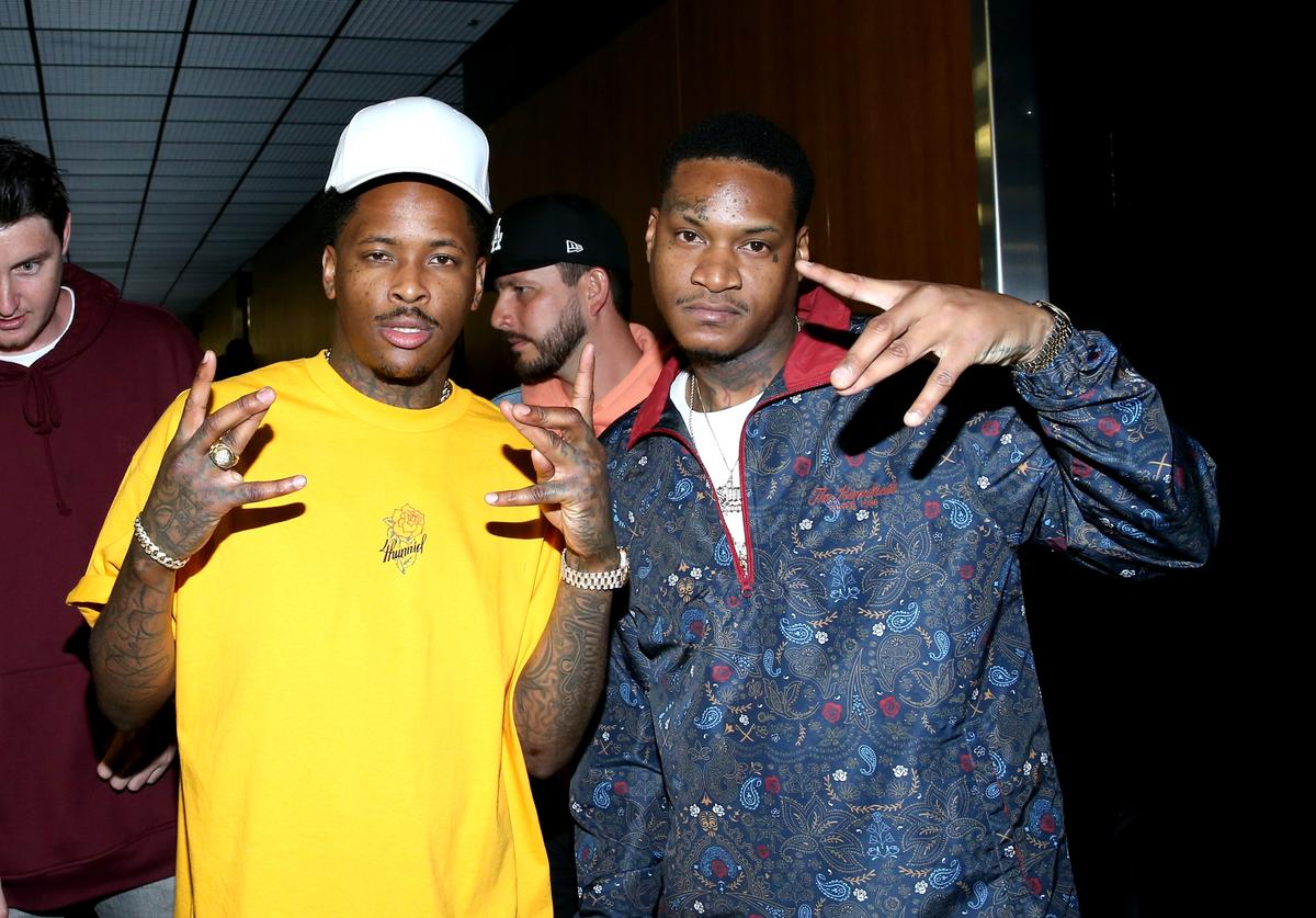 YG (L) and Slim 400 at night two of the STAPLES Center Concert, presented by Coca-Cola, during the 2017 BET Experience at LA Live on June 23, 2017 in Los Angeles, California