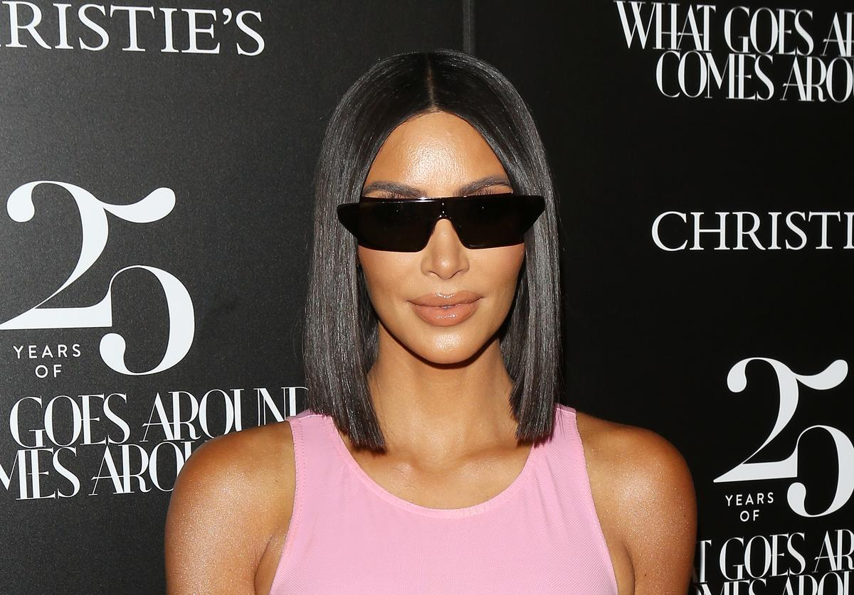 Kim Kardashian attends the What Goes Around Comes Around - 25th Anniversary Auction Beverly Hills preview held on August 21, 2018 in Beverly Hills, California.