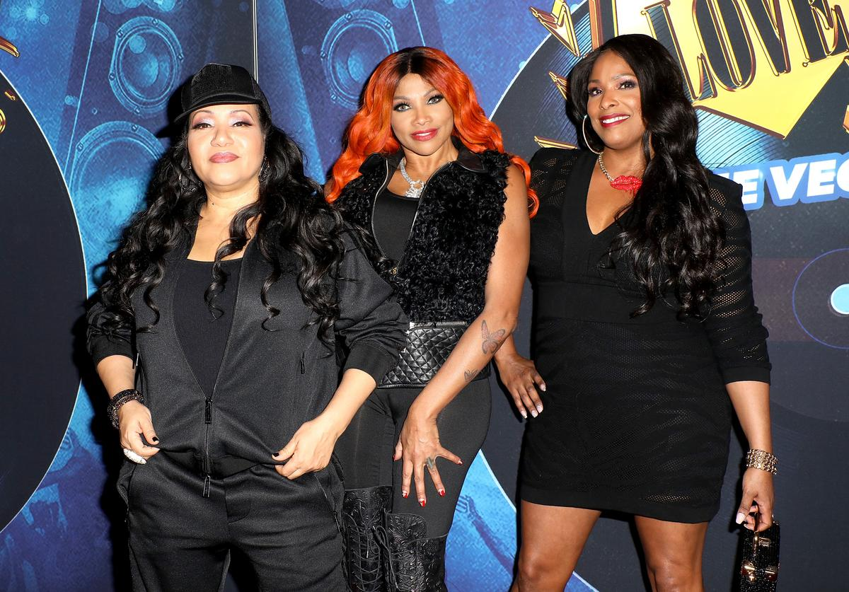 "Recording artists Cheryl 'Salt' James, Sandra 'Pepa' Denton and DJ Spinderella of Salt-N-Pepa attend the grand opening of ""SALT-N-PEPA'S I LOVE THE '90s - THE VEGAS SHOW"" residency at The Paris Theater at Paris Las Vegas on October 25, 2018 in Las Vegas, Nevada."