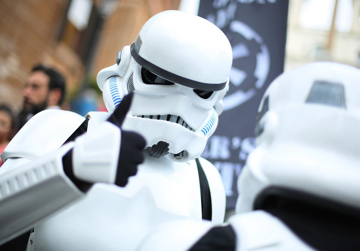 Cosplayer dresses as Stormtrooper attends a flashmob during the Star Wars Day 2019 at Piazza di Spagna on May 04, 2019 in Rome, Italy.