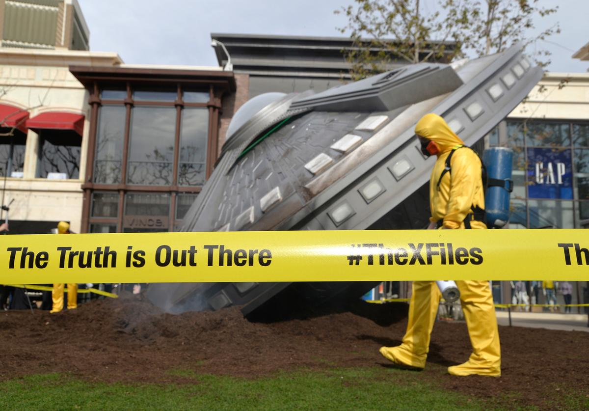 "Atmosphere shot of a crashed UFO at a premiere episode screening of FOX's ""The X-Files"" at The Grove on January 22, 2016 in Los Angeles, California."