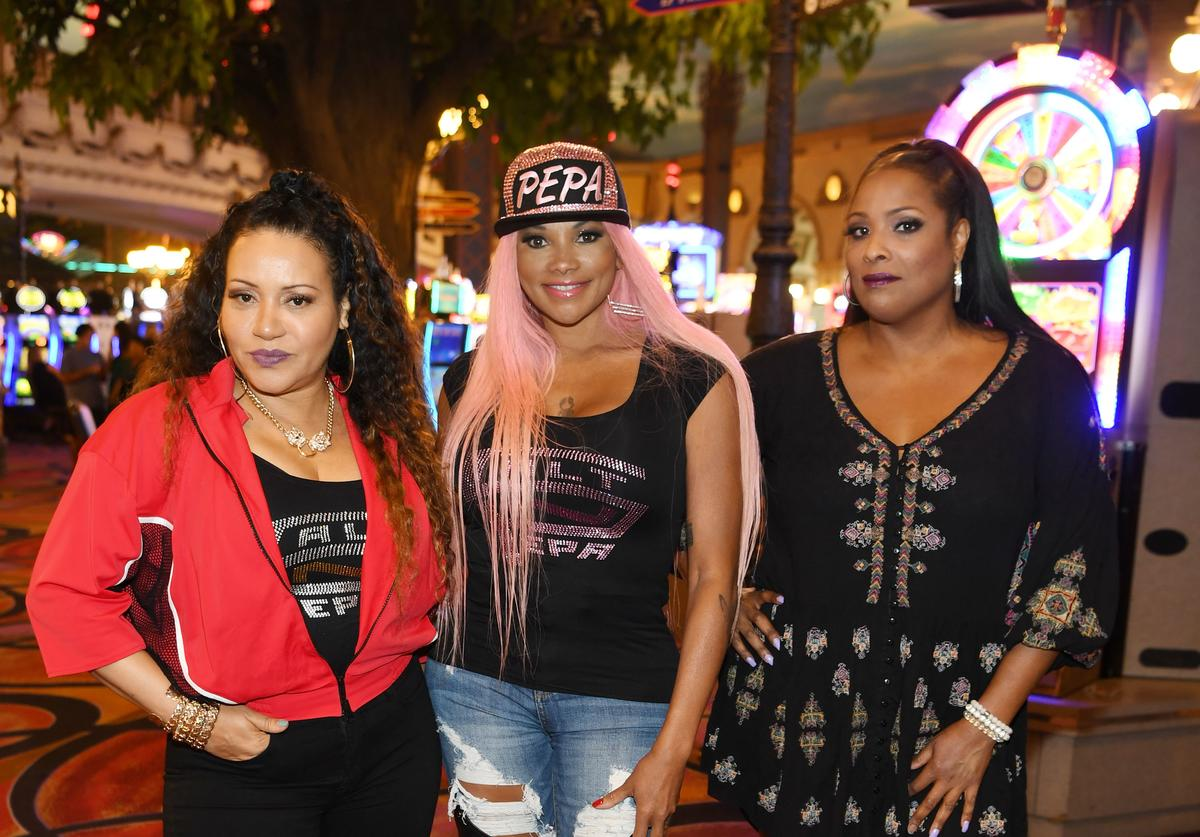 Salt-N-Pepa arrive at the announcement for 'I LOVE THE '90s - THE VEGAS SHOW' a residency they will be performing in starting October 2018, at Paris Las Vegas on July 22, 2018 in Las Vegas, Nevada