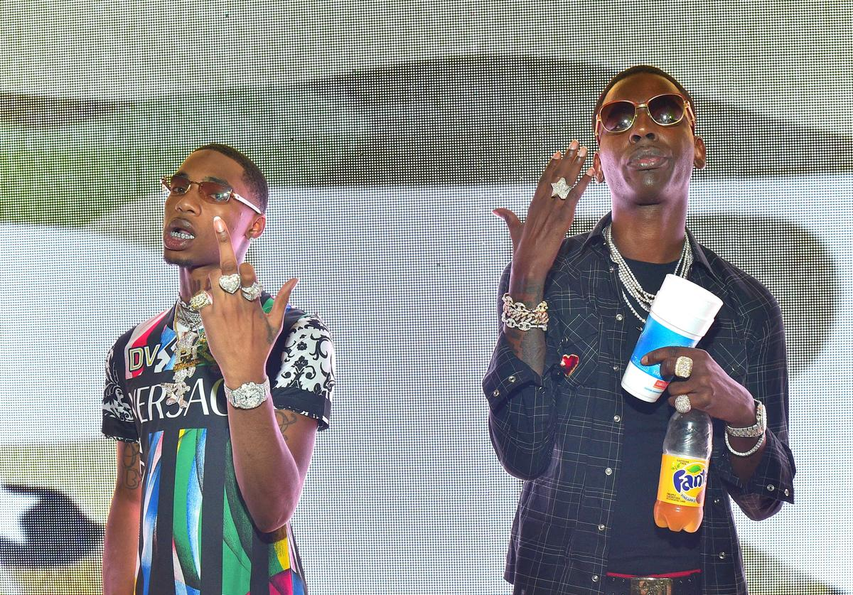 Rapper Key Glock and Young Dolph attend Young Dolph Birthday Celebration at Gold Room on July 28, 2018 in Atlanta, Georgia.