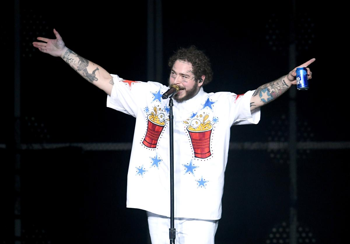 Post Malone performs onstage during Day 2 of Bud Light Super Bowl Music Fest at State Farm Arena on February 1, 2019 in Atlanta, Georgia