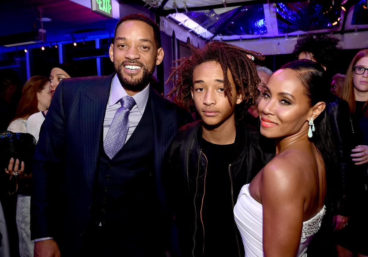 "Actors Will Smith, son Jaden Smith and his wife Jada Pinkett Smith pose at the after party for the premiere of Warner Bros. Pictures' ""Focus"" at the W Hotel on February 24, 2015 in Los Angeles, California"