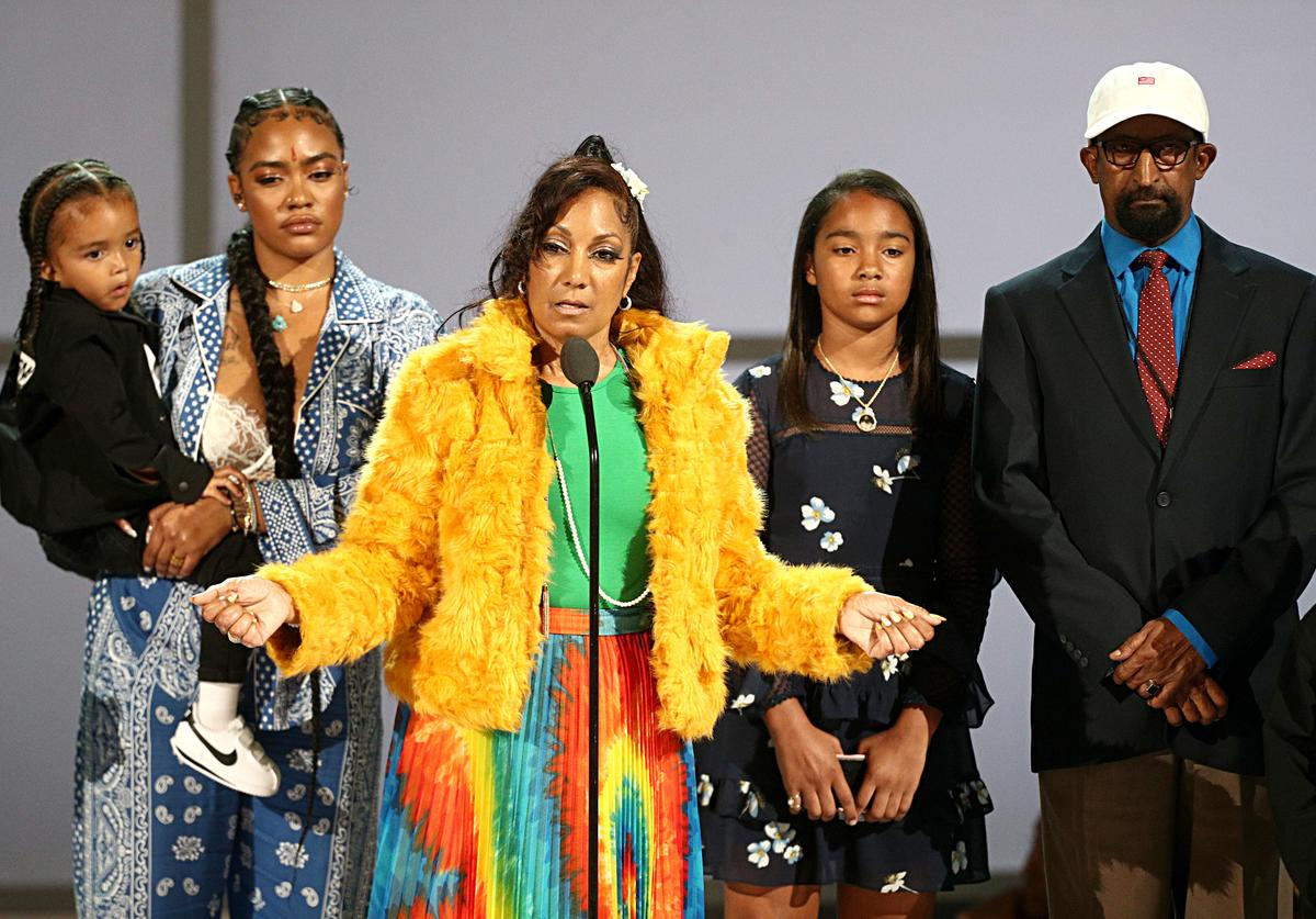 Nipsey Hussle's family (L-R) Kross Ermias Asghedom, Samantha Smith, Angelique Smith, Emani Asghedom and Dawit Asghedom accept the Humanitarian Award in honor of Nipsey Hussle onstage at the 2019 BET Awards at Microsoft Theater on June 23, 2019 in Los Angeles, California