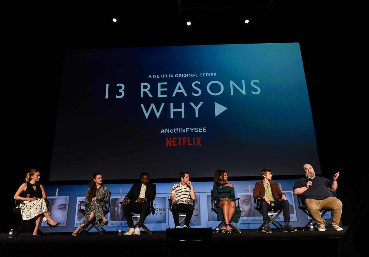 "Katherine Langford, Derek Luke, Dylan Minnette, Alisha Boe, Miles Heizer and Brian Yorkey attend #NETFLIXFYSEE Event For ""13 Reasons Why"" Season 2 - Inside at Netflix FYSEE At Raleigh Studios on June 1, 2018 in Los Angeles, California."