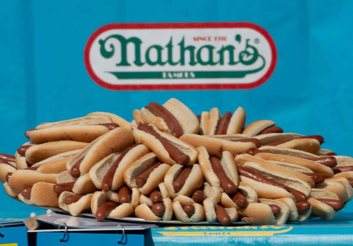 A tray of hot dogs sit on a table waiting to be devoured before the 2019 Nathan's Famous Fourth of July hot dog eating contest on Coney Island on July 4, 2019 in New York.
